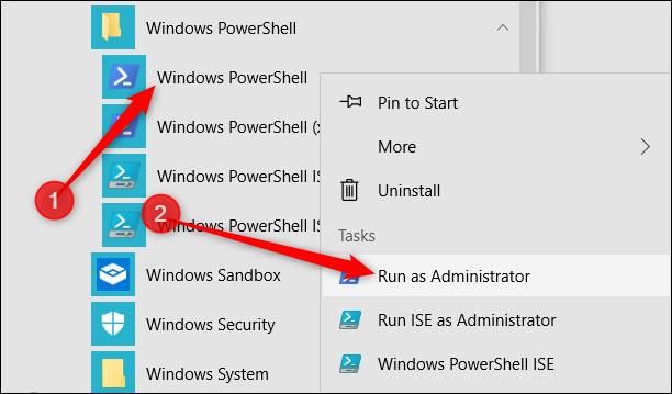 """انقر بزر الماوس الأيمن فوق """"Windows PowerShell"""" ، ثم انقر فوق """"تشغيل كمسؤول""""."""