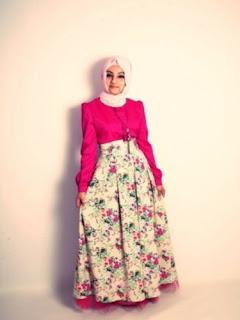 Gambar Long Dress Batik Kombinasi