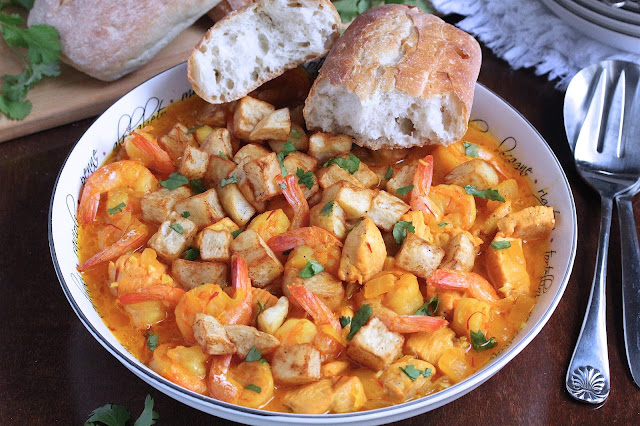Chicken and Shrimp Mozambique with Fried Potatoes