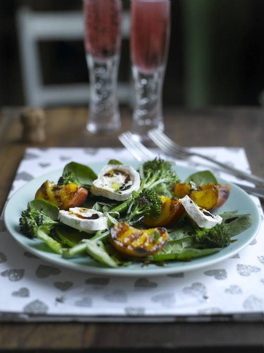 Salad Of Grilled Tenderstem®, Peaches & Goats' Cheese