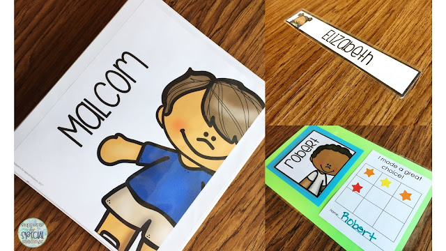 Personalized student labels on a binder and sticker chart