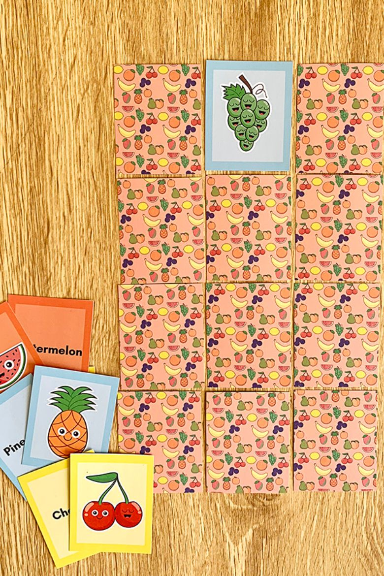 printable games for kids - fruit memory match game