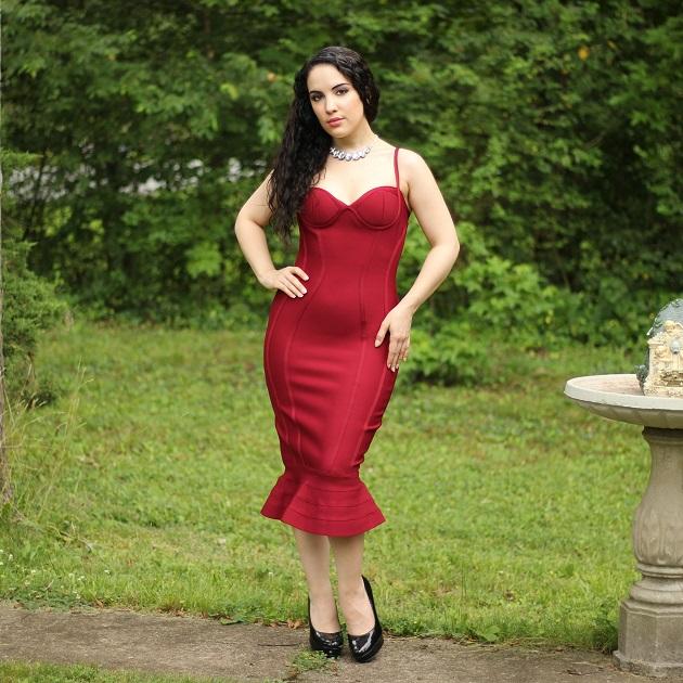 SHEIN Burgundy Bandage Dress
