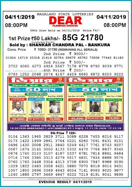 Sambad lottery 04-11-2019 Nagaland State Lottery Result 08.00 PM-lotterysambadresults.com