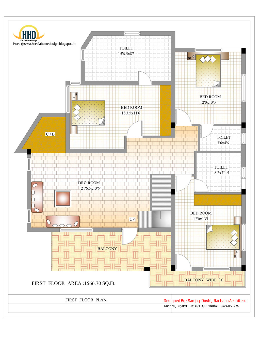 Tiny Home Designs: 3 Story House Plan And Elevation - 3521 Sq. Ft.