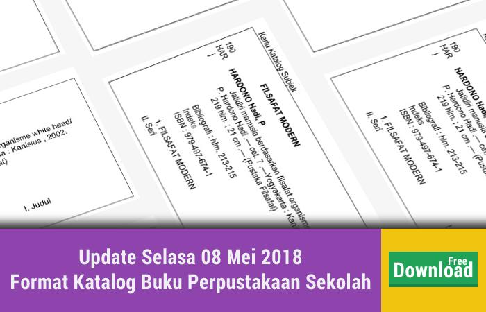 Update Selasa 08 Mei 2018 Format Katalog Buku Perpustakaan Sekolah