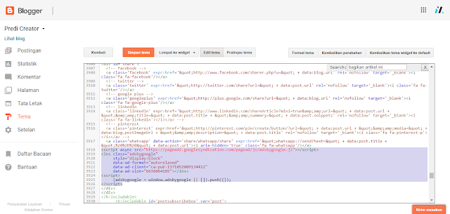 mengaktifkan kode html google adsense iklan yang sesuai