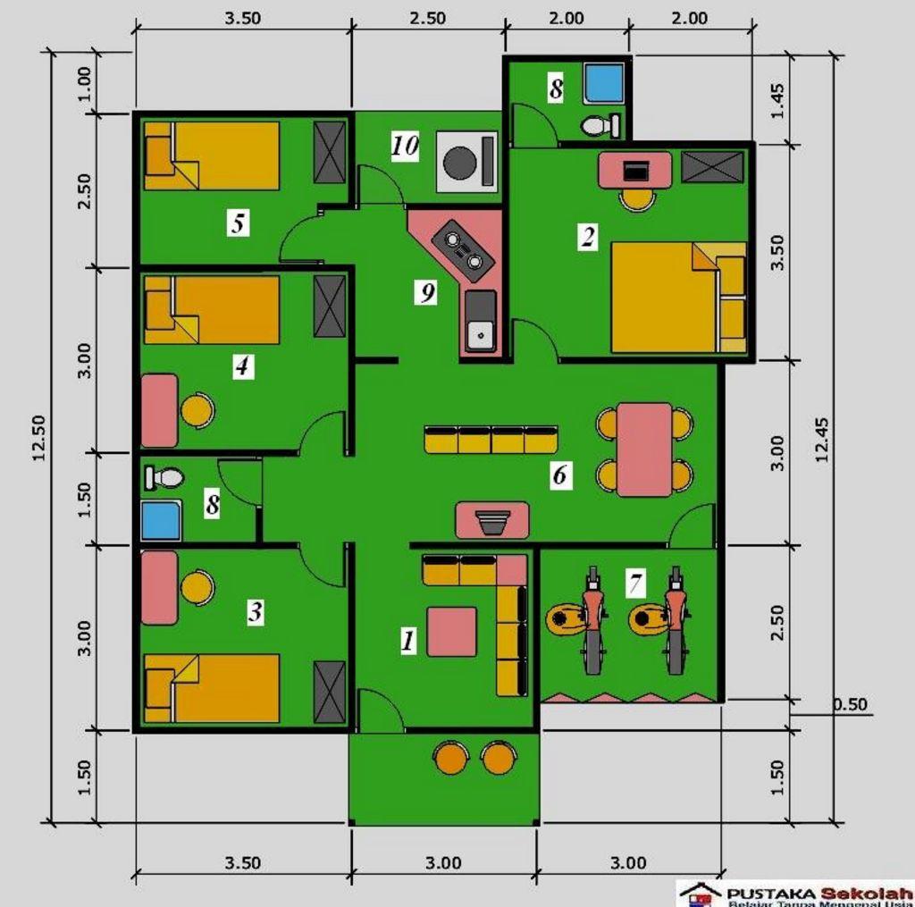 layout denah rumah 3 kamar modern