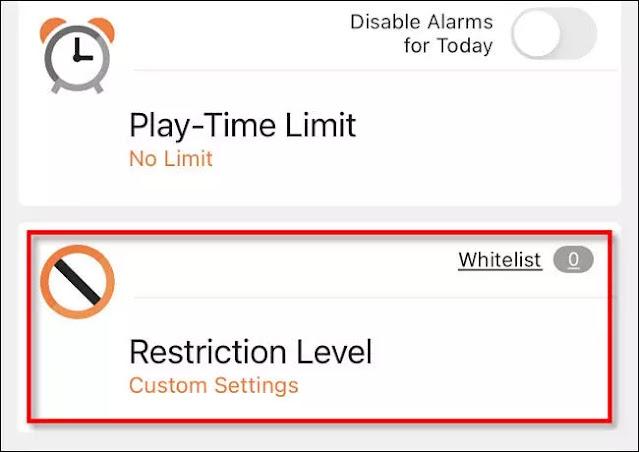 """Toca """"Nivel de restricción""""."""