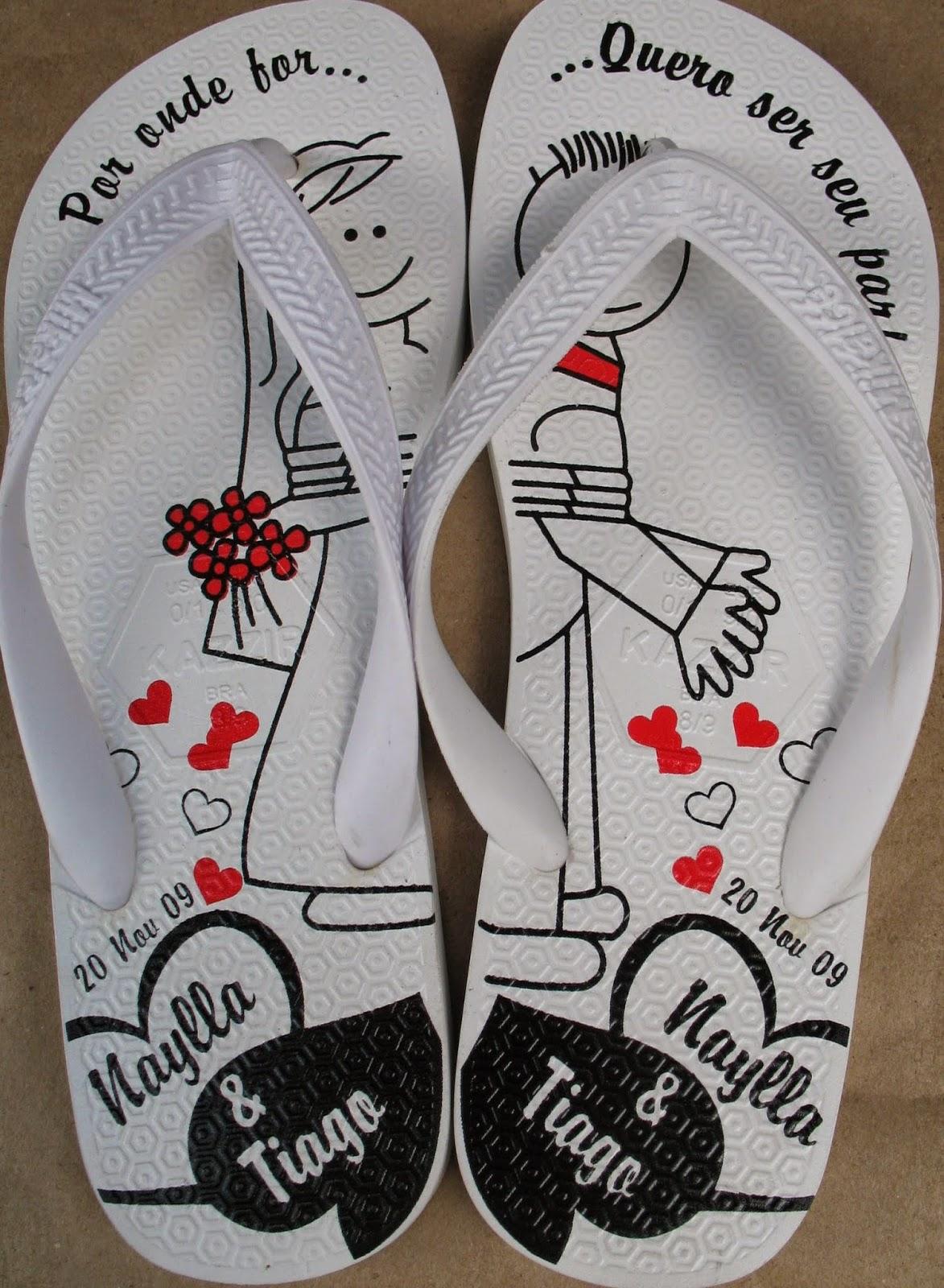 Ideias criativas casamento - chinelos personalizados