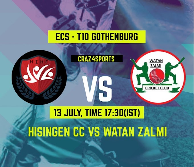 HSG VS WZC Dream11 prediction, Previous match data, Top picks (Hisingen CC VS Watan Zalmi CC) (Dream11 ECS T10 - Gothenburg)