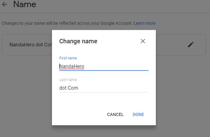 cara mengganti nama akun google di android