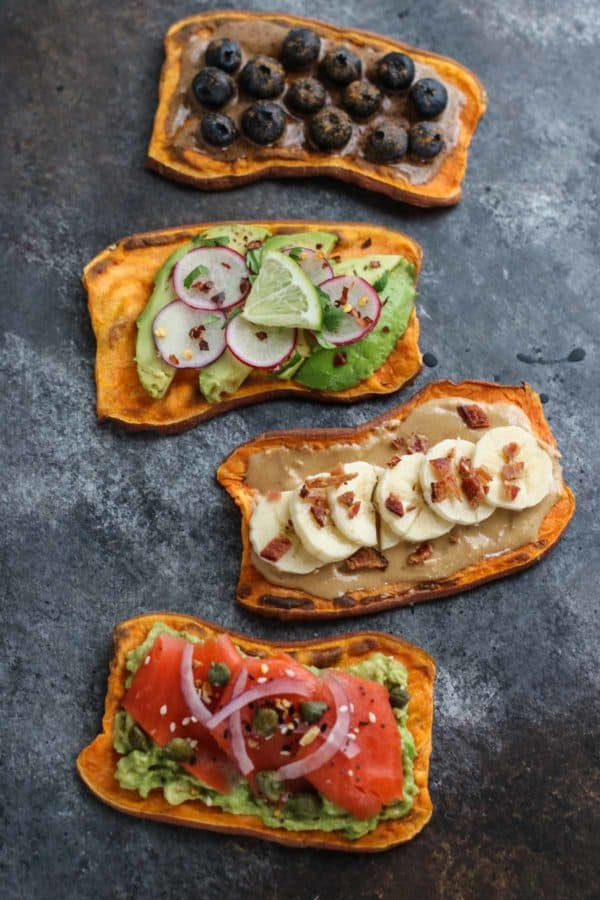 Oven Baked Sweet Potato Toast 4 Ways #vegetarian #vegan #paleo #yummy #bowl