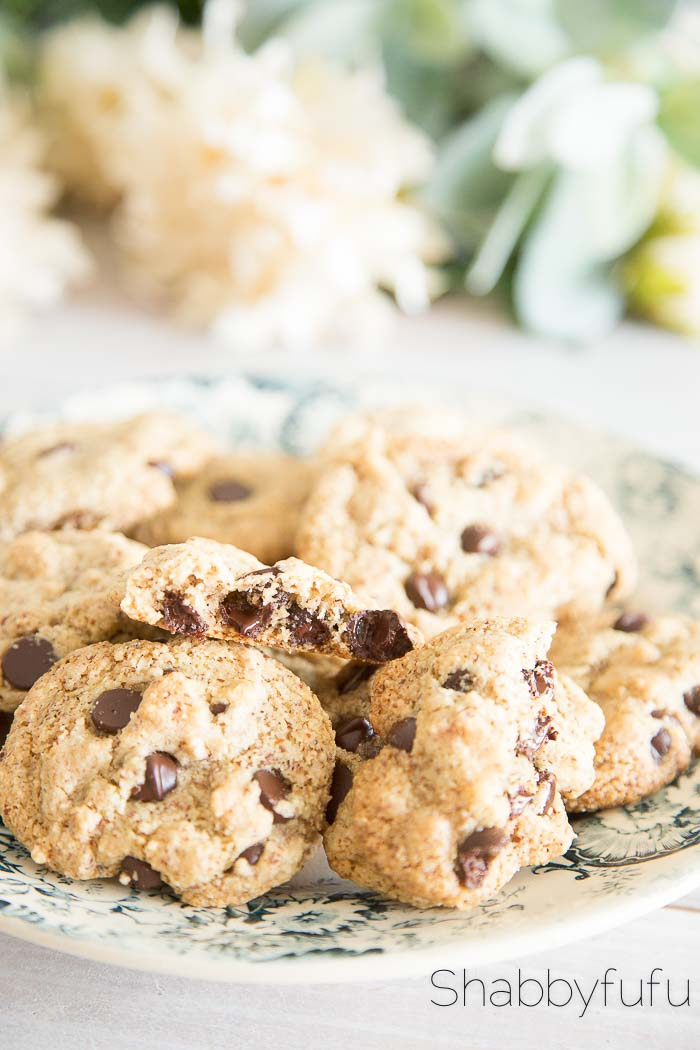 Vegan Chocolate Chip Cookies on a french plate