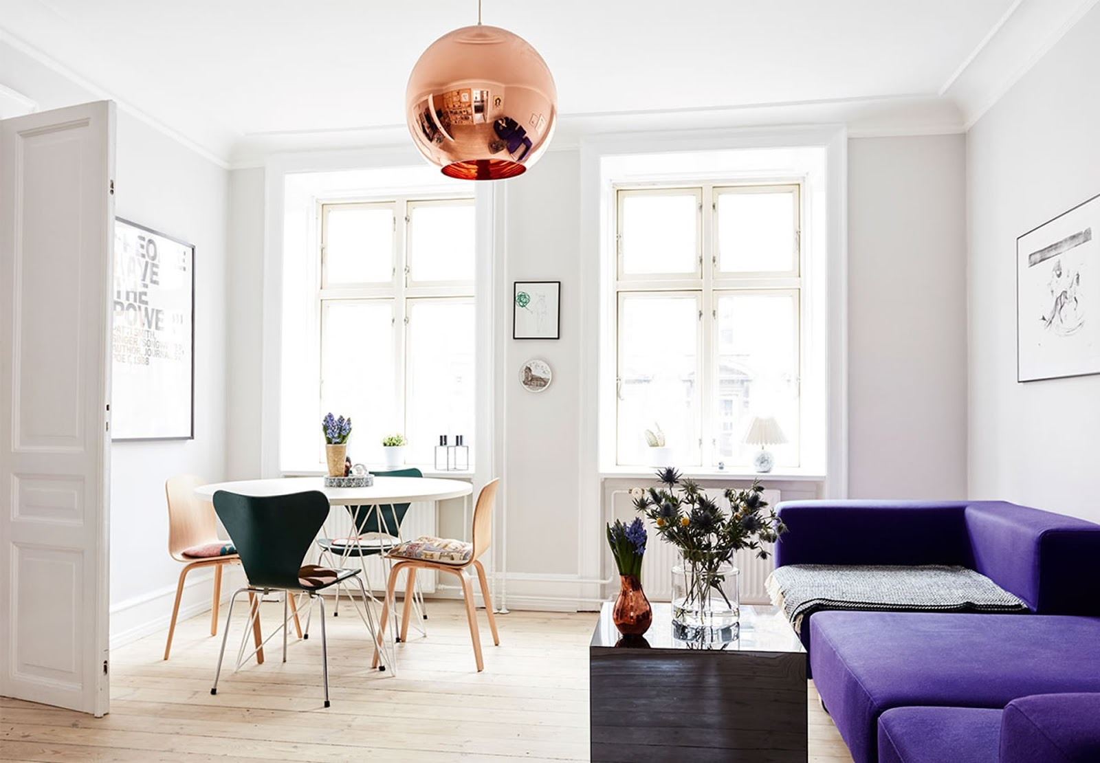 nordic design, copper lamp, arne jacobsen chair, mid century modern furniture, bright interior