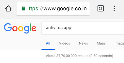 antivirus app search results in Google