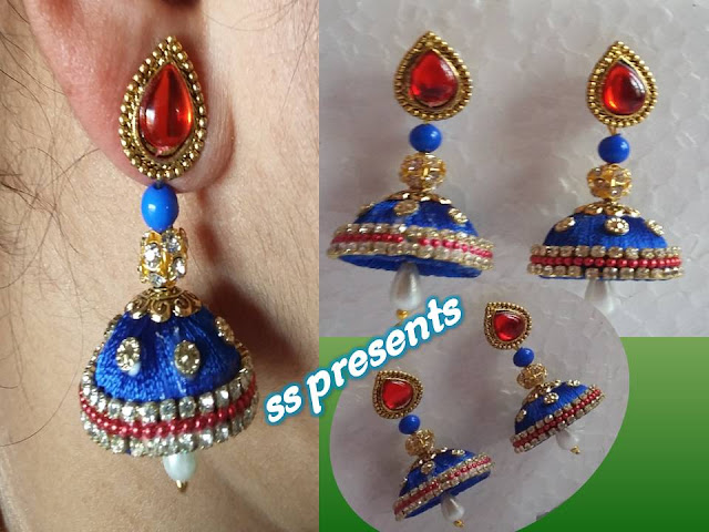 Here is how to make thread earrings step by step,how to make silk thread jhumkas,silk thread jewellery jhumkas,thread earrings materials,Images for silk thread jeweller bangles,silk thread paintings,how to make silk thread checked jumakas,How to make silk thread bridal designer stud jhumkas