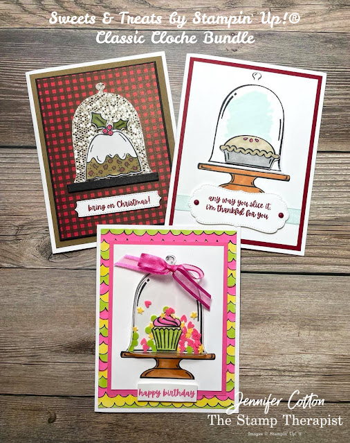 Stampin' Up!®'s Sweets & Treats and Classic Cloche Bundle.  Sale a Bration Be Dazzling and Beautifully Penned designer series paper DSP.  Shaker Card.  Christmas, birthday, and thanks cards.  Stampin' Blends.  #StampinUp #StampTherapist #Sweets&Treats #ClassicCloche
