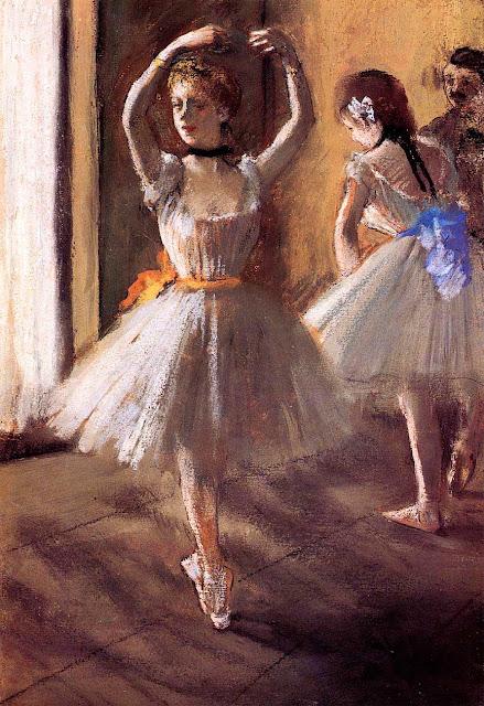 Эдгар Дега - Две танцовщицы в классе (танцевальная школа) (ок.1875)