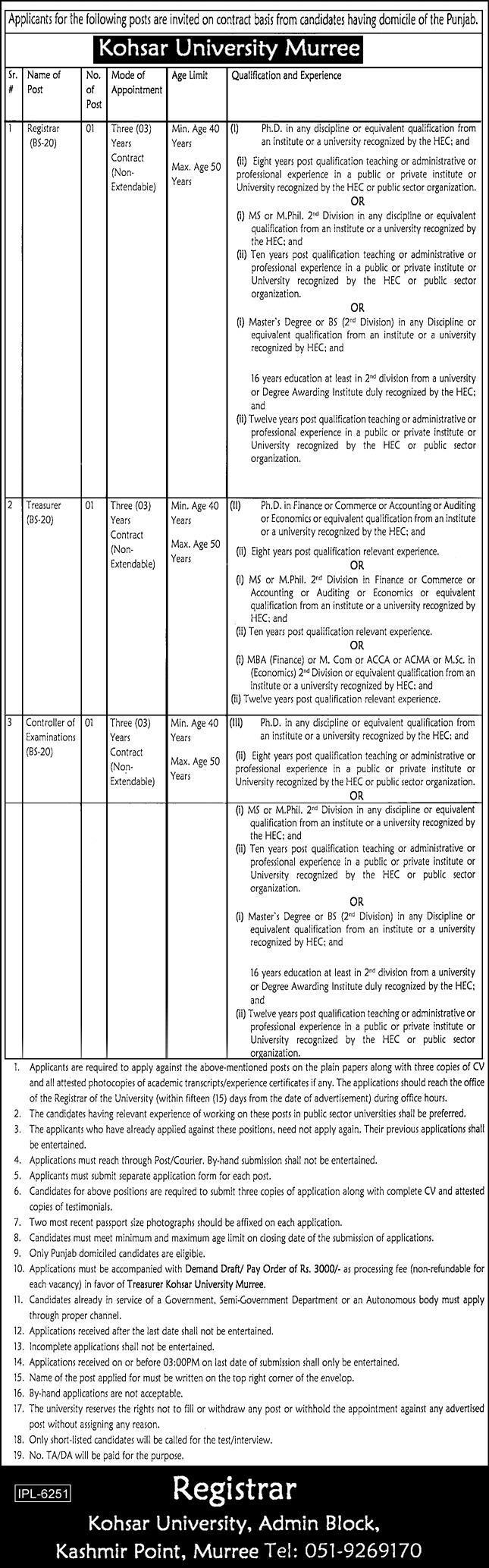 Kohsar University Murree Jobs 2021 in Pakistan