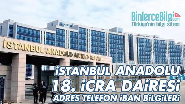 İstanbul Anadolu 18. İcra Dairesi Adresi, telefonu, İBAN Numarası