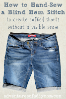 how to hand sew a blind hem stitch for cuffed shorts