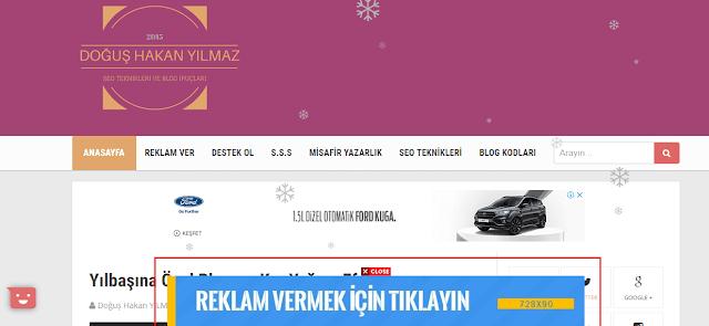 Sayfa Altında Sabit Reklam Banner Kodu