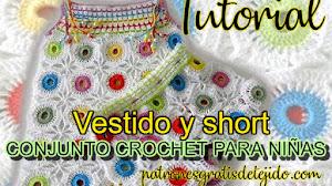 Vestido y short para niñas a crochet con motivos en tejido continuo / Tutorial