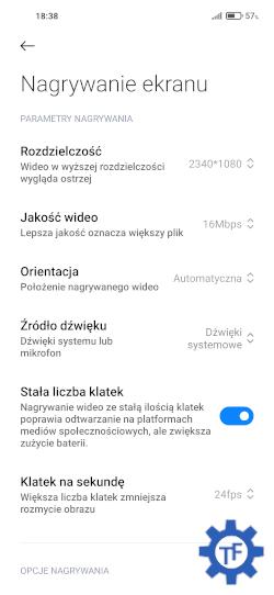 Xiaomi Ustawienia nagrywania ekranu