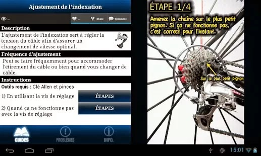 Bike Repair 4.1   <p> What's New Please take the time to write a review in the Google Play Store. Thanks New stuff - Bug fixes - Lubrification routine: What, when and how? - Speedplay pedal maintenance - How to fix a broken piece - Bike Fitting: Saddle Height and Saddle Fore/ Aft Position</p>