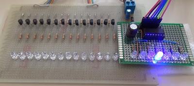 Fig. 1 - Modulo con 7 LED + modulo da 14 LED di Paolo Luongo