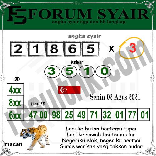 Forum Syair SGP Senin 02 Agustus 2021