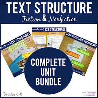 Here's a complete unit for Middle School students on how to USE text structures to analyze text! It includes everything the teacher needs to Teach, Reteach & Enrich based on R.CCR.5/RI.5/RL.5 with built-in differentiation!  All the work is done! Just make the copies and teach!  #activities #lesson