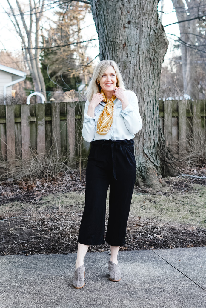 what to wear with paper bag pants
