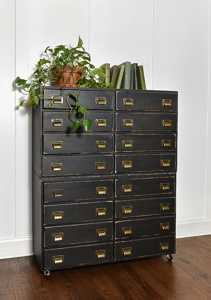 16 drawer wood hardware storage drawers