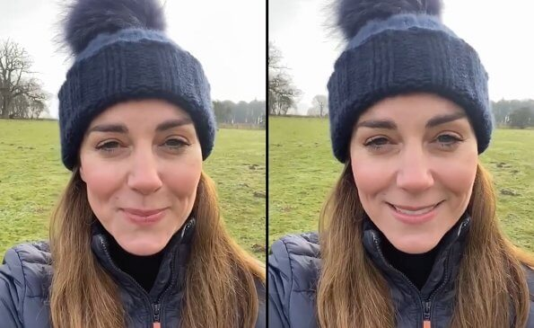 Kate Middleton can be seen wearing a cosy navy beanie with a huge fluffy bobble and a quilted Barbour jacket. Barbour longshore quilted jacket