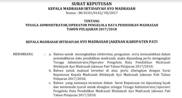 Contoh SK Operator Madrasah untuk Pengelolaan Emis