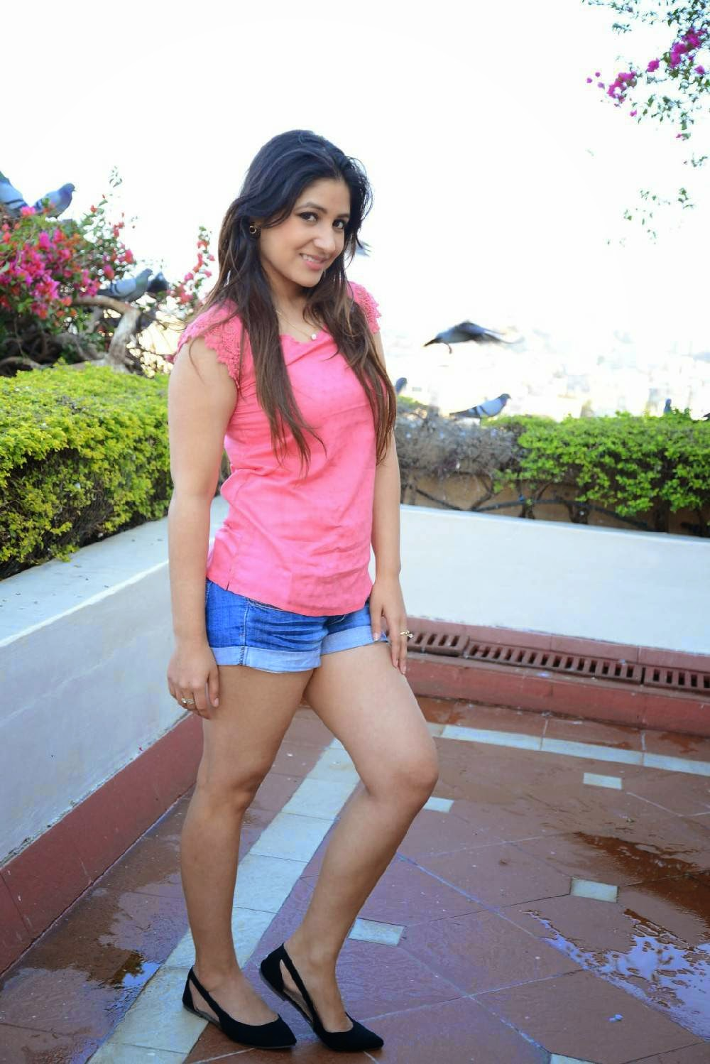 Actress Prabhjeet Kaur Latest Cute Hot Pink Top And Blue Short Dress Spicy Thighs Show Photos Gallery