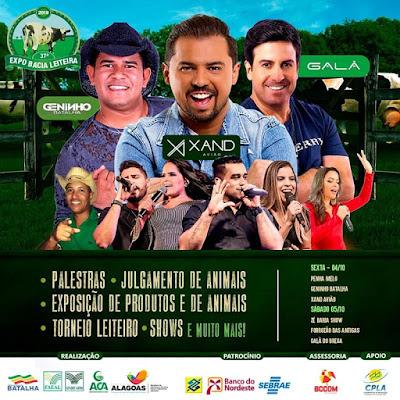 Em Batalha, shows da Expo Bacia Leiteira 2019, acontecem nesta sexta-feira, 04, e sábado, 05, confira a programação