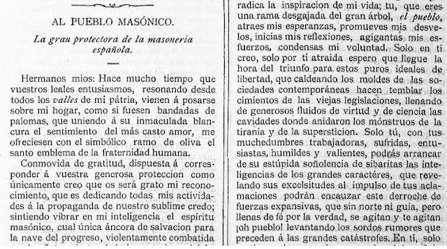 Fragmento del texto publicado en La Humanidad, Alicante, 27/5/1888