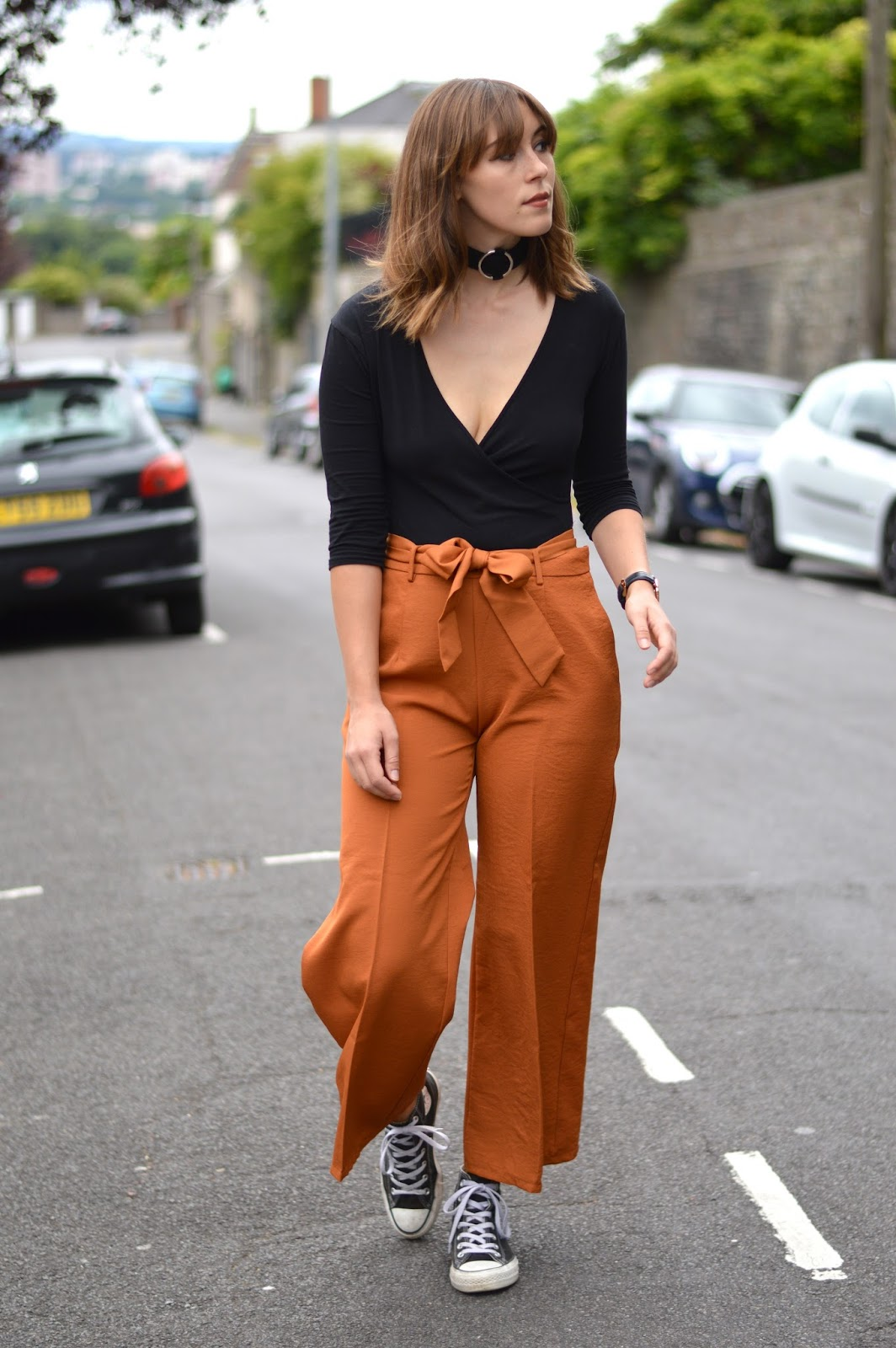 Orange culottes by Zaful