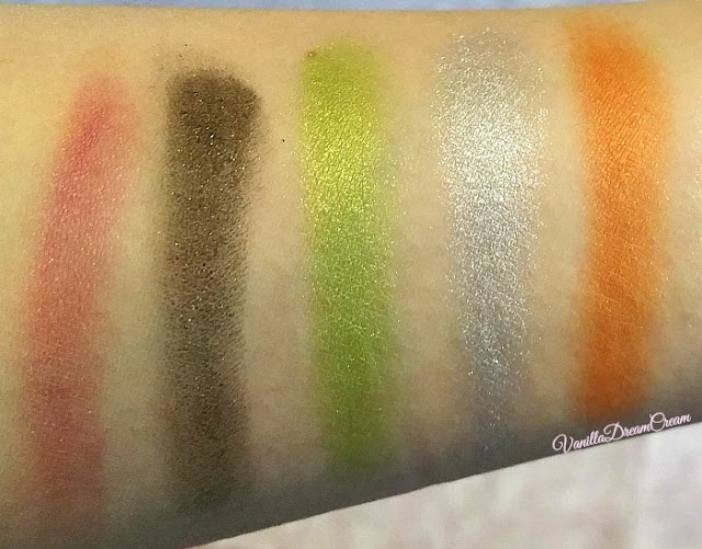 close up swatches of last five NYX Avant Pop Art Throb shadow palette