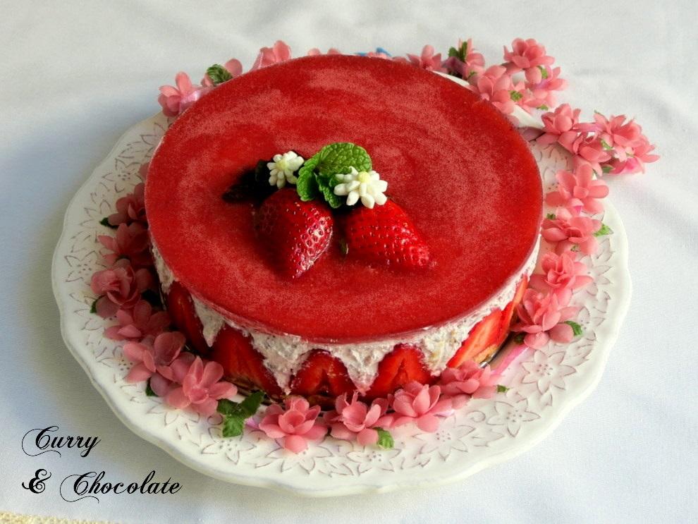 Tarta de fresas y nata (sin horno)
