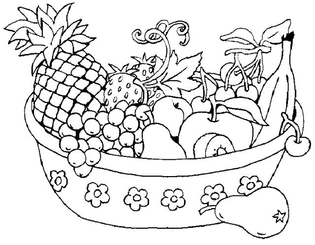 cesta de frutas para dibujar