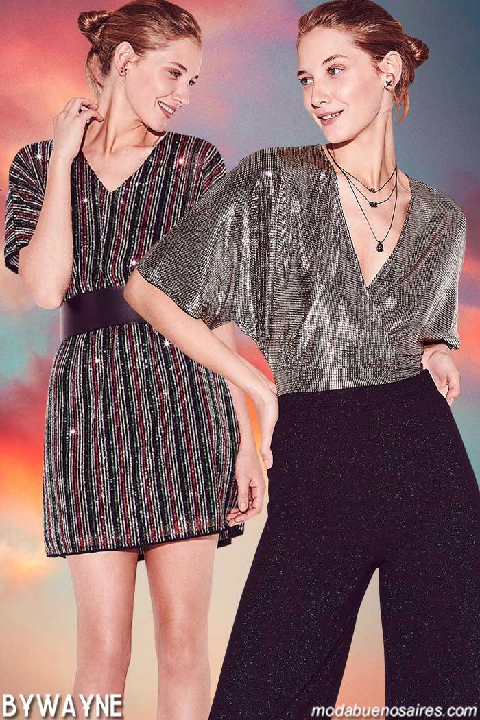 Vestidos de lentejuelas primavera verano 2020. Blusas con paillettes verano 2020. Moda 2020 looks noche.