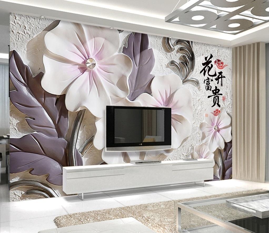 Tranh 3d dán tường hoa ngọc trai phòng ngủ