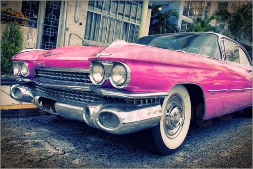 vintage pink cadillac
