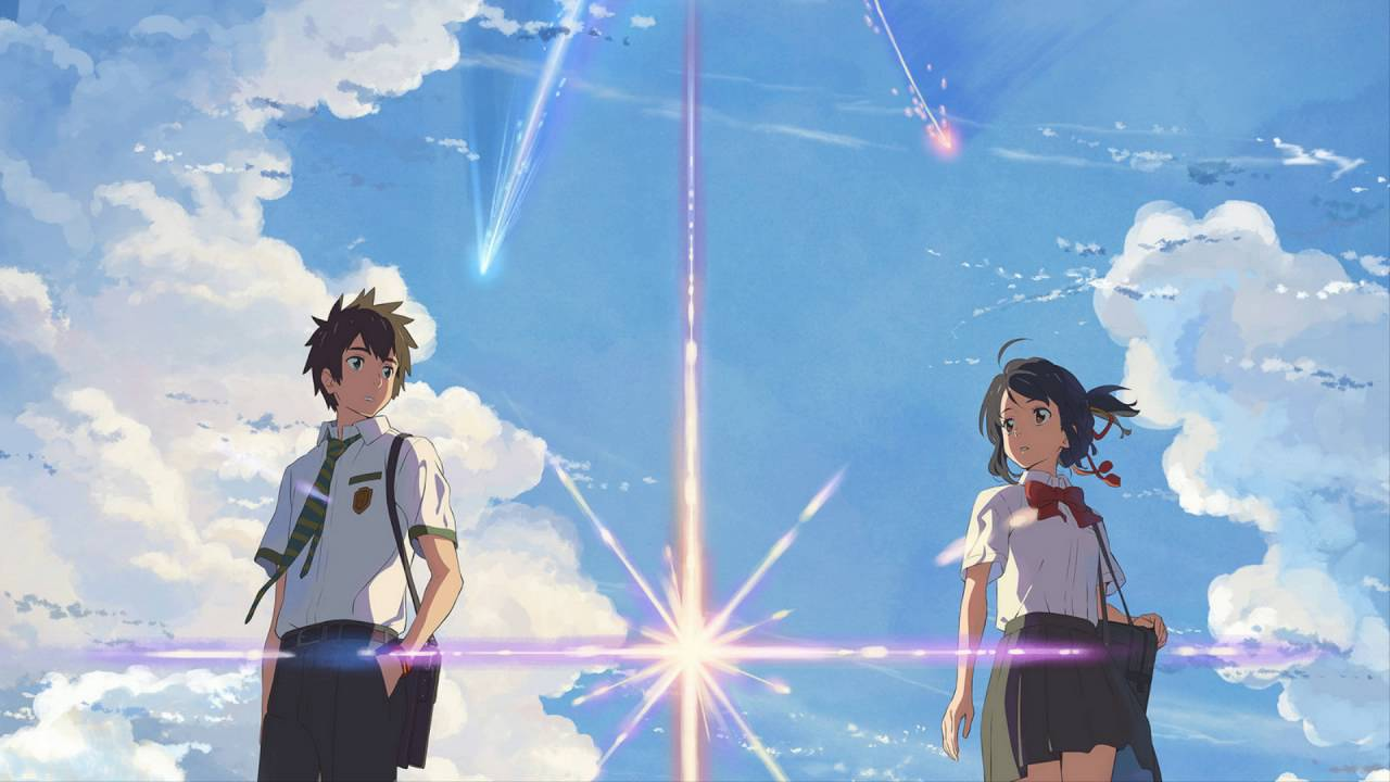 Mitsuha and Taki stand under asteroid sky