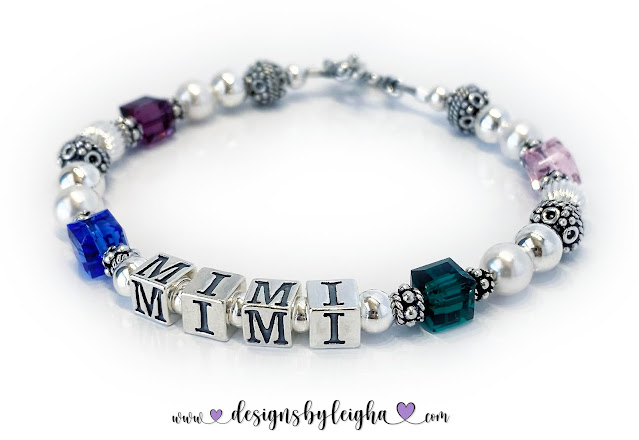 MIMI Birthstone Bracelet for Grandma with 4 Birthstones for her Grandkids