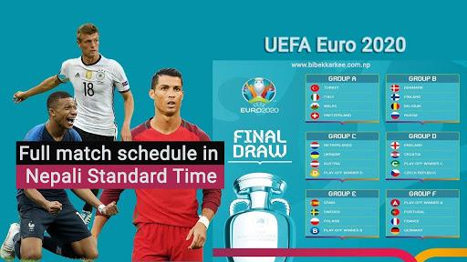 UEFA Euro 2020 Full Fixture In Nepal Time